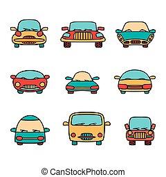 komplet, wektor, cars., rysunek
