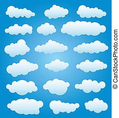 komplet, wektor, chmury