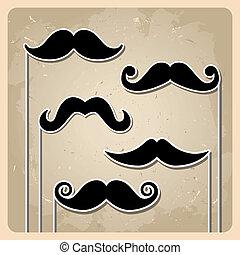 komplet, wektor, hipster, wąsy