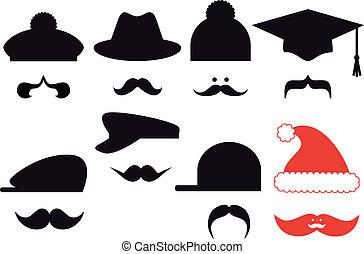 komplet, wektor, kapelusze, wąsy