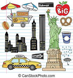 komplet, wektor, miasto, york, doodles, nowy