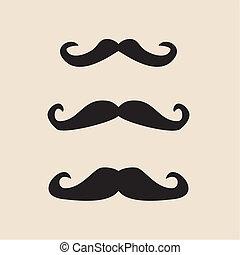 komplet, wektor, mustaches, dżentelmen