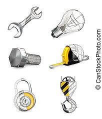 komplet, wektor, narzędzia