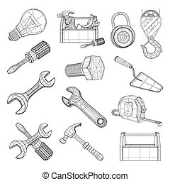 komplet, wektor, narzędzia, rysunek