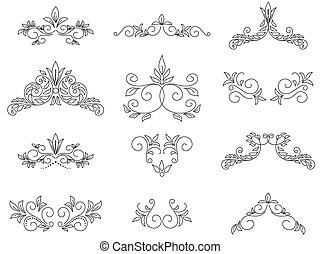 komplet, -, wektor, projektować, kwiatowe elementy