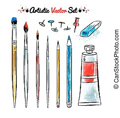 komplet, wektor, sztuka, tools.