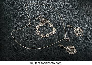 komplet, więzy, bransoletka, dzwoni, srebro, biżuteria