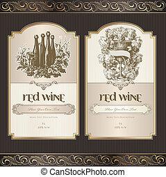 komplet, wino, etykiety