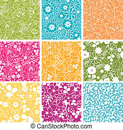 komplet, wiosna, tła, seamless, wzory, dziewięć, kwiaty