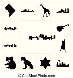 komplet, wizerunek, rex, dawid, sztaluga, seattle, miasto, ikony, denver, tło, biały, sylwetka na tle nieba, gwiazda, pittsburgh, kansas, les, koala, malarz, sylwetka na tle nieba, paweł, t