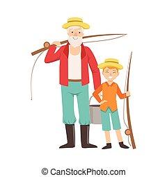 komplet, wnuk, razem, dziadek, chodzenie, wędkarski, wnuk, ...