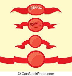 komplet, wstążki, retro, labels., czerwony