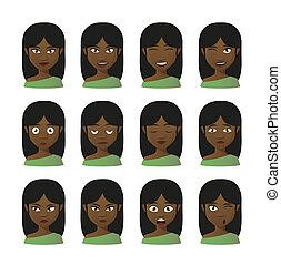 komplet, wyrażenie, rysunek, samica, avatar