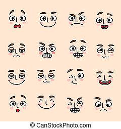 komplet, wyrażenie, tryb, twarzowy, ikony