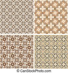 komplet, wzory, seamless, islamski, wektor, style.