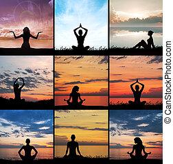 komplet, yoga, collage., zen, silhouette., rozmyślanie, medytacja