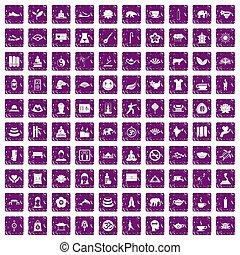 komplet, yoga, ikony, purpurowy, grunge, 100