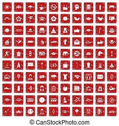 komplet, yoga, ikony, studio, grunge, 100, czerwony
