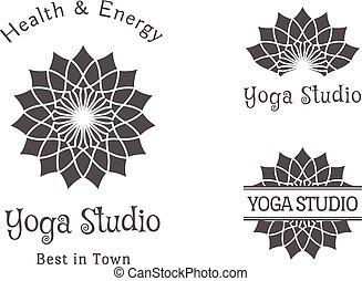 komplet, yoga, wektor, studio, szablon, logo