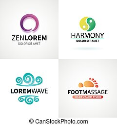 komplet, yoga, wellness, kasownik, wektor, masaż, logo,...