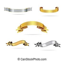 komplet, złoty, kolor, twórczy, wstążki, srebro
