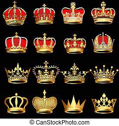 komplet, złoty, korony, na, czarne tło