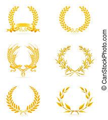 komplet, złoty, wieniec, eps10