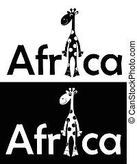 komplet, z, radosny, giraffe., isolated., wektor