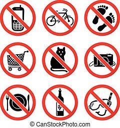 komplet, zabroniony, znaki