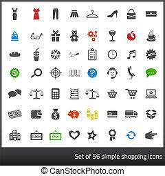 komplet, zakupy, ikony, 56, szary, powinowaty, ciemne tło, biały