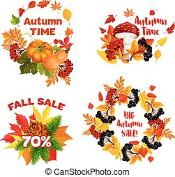 komplet, zakupy, ikony, sprzedaż, jesień, dyskonto, wektor