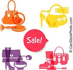 komplet, zakupy, sprzedaż, icons., elegancki, fason, znaki,...