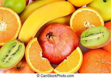 komplet, zdrowy, górny, jadło., tło, owoce, prospekt.