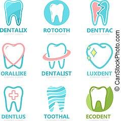 komplet, zdrowy, logo., stomatologiczny, dentysta, ząb, klinika, wektor, projektować, szablon, logo, ustny, template.