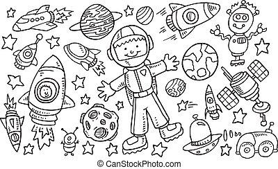 komplet, zewnętrzna przestrzeń, doodle, wektor, sztuka