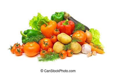 komplet, ziele, warzywa, tło, świeży, biały