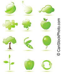 komplet, zielony, połyskujący, ikona