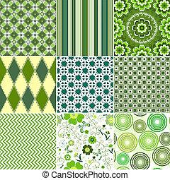komplet, zielony, seamless, wzory