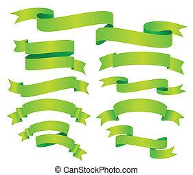 komplet, zielony, wstążka