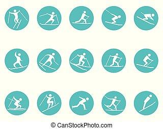 komplet, zima, ikony, guzik, sport, okrągły