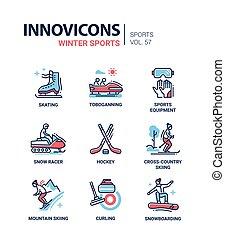 komplet, zima, ikony, -, lekkoatletyka, projektować, kreska