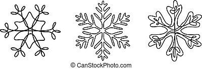 komplet, zima, płatki śniegu, ciągły, theme., kreskówka