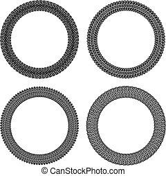 komplet, zmęczyć, okrągły, cztery, wektor, układa, ślady, style.