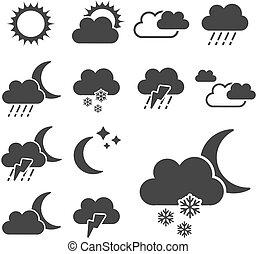 komplet, znak, -, symbolika, wektor, czarnoskóry, pogoda, ikona