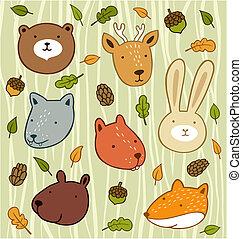 komplet, zwierzęta, drewniany, liście, żołędzie, odizolowany, las, tło