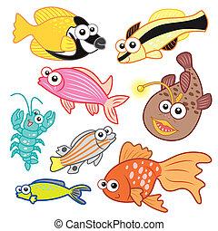 komplet, zwierzęta, tło, morze, biały, rysunek