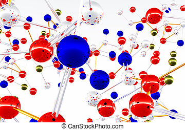 komplex, molekül, struktur, atom