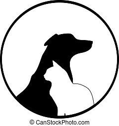 komposition, av, hund, och, katt, silhouettes