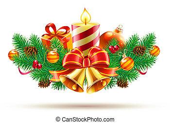 komposition, dekorativ, jul