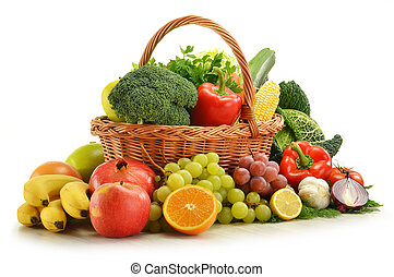 komposition, hos, grønsager, og, frugter, ind, vidje kurv, isoleret, på hvide